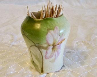 Hand Painted Hibiscus Flower Toothpick Holder, Miniature Bud Vase, Bobby Pin Holder, PSAG Bavaria Toothpick Holder, Vanity Decor