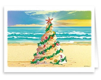Beach Christmas Tree - Beach Theme Christmas Card 18 Cards & Envelopes - 30018