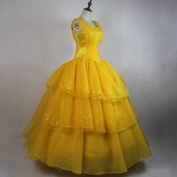 Beauty and the Beast Belle Movie Yellow Dress Costume Halloween Costume Parade Costume