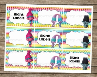 Trolls Blank Labels ~ Gift Tags ~ Instant Download ~ Party Supplies ~ Labels ~ Buffet Labels ~ Printable Party Decor ~ Birthday Tags