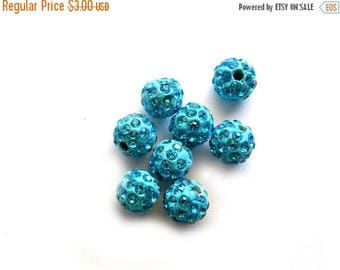 HALF PRICE 10 Turquoise Rhinestone Disco Ball Beads 8mm