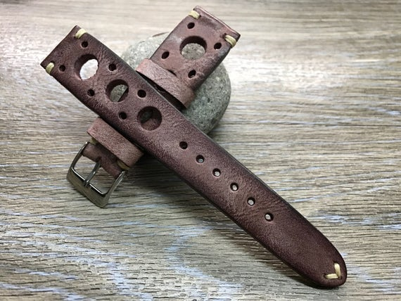 Handmade Leather watch strap | Vintage brown red watch band | Rally Leather Watch strap | Racing Leather watch strap for Rolex - 19/20mm