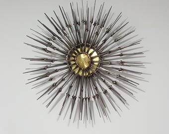 Abstract Starburst Nail & Brass Wall Sculpture Jere Bowie