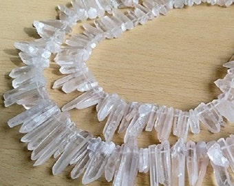 WholesaleGemShop-Raw Natural Rock Crystal Quartz Point Beads 15 inches Strand Rough 20mm to 30mm Top Drilled with Free Shipping