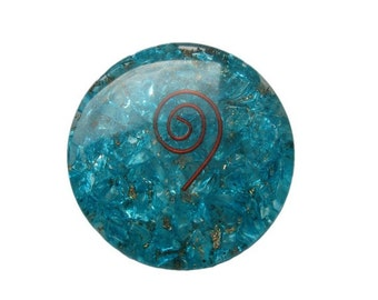 Sky Blue Orgone Round Disc Reiki Healing with Free Shipping