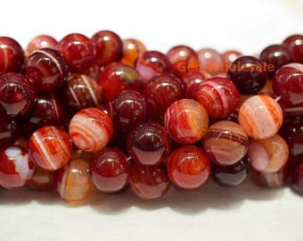 "15.5""  12mm/14mm Dark red stripe agate round beads, red gemstone beads, semi-precious stone, dark red banded agate GYA1"