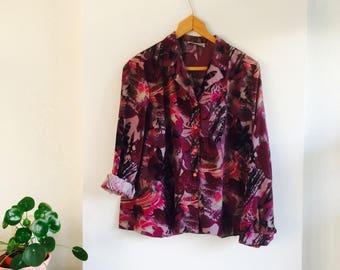 Vintage blouse | 80s blouse | Print | Purple print | flowerprint | Vintage blouse size L