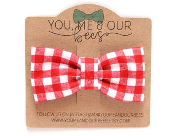 Red and White Bow Tie; Red Checkered Boys Bow Tie; Checkered Bow Tie; Baby Bow Tie; Clip On Bow Tie; Red and White Bow Tie