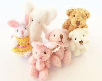 Miniature dollhouse teddy bear toy / 1:12 dollhouse miniature teddy bear / collectible miniature toys rabbit / scale one inch plush bunny