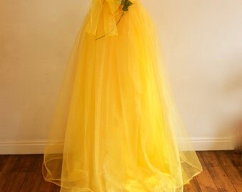 Belle 2017 inspired Women's Long Yellow Organza Skirt, Made to Measure