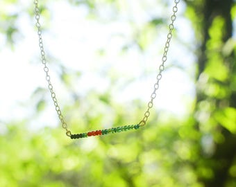 Ruby-throated Hummingbird Beaded Bar Necklace
