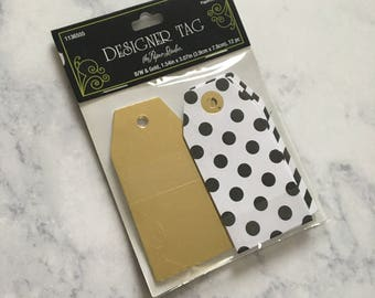Gold Foil and Polka dot and stripes Gift Tags