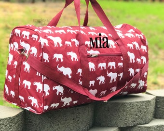 "2 colors! 22"" Elephant DUFFLE Bag, Crimson Duffle Bag, Gray Duffle Bag, Women Overnight Bag, Elephant Gym Bag, Gym Bag, College Bag"