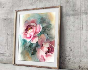 Peonies fine art print, Pink floral watercolor painting print, watercolor print, floral wall art