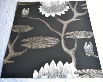 Wallpaper - Cole and Son  Sample Sheet  - 19 x 17 Summer Lily in Charcoal and Gold