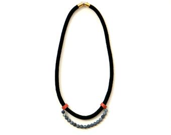 Agate Necklace, Beaded Rope Necklace, Simple Necklace, Minimalist Necklace, Modern Textile Necklace, Black Necklace, Lava Bead Necklace