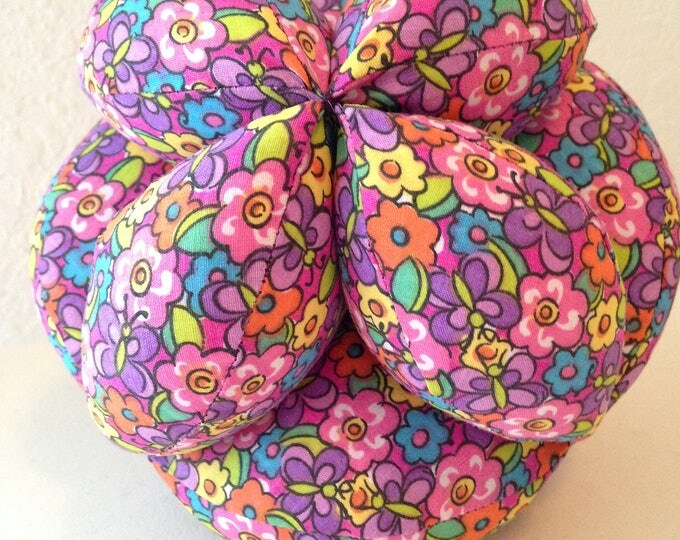 1st Birthday Gift Montessori Puzzle Ball. Colorful Geometric Clutch Ball. Sensory Learning Toy. Purple Floral Soft and Safe for indoor Play