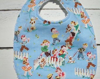 Baby Bib Retro Kids Playing  Ready To Ship