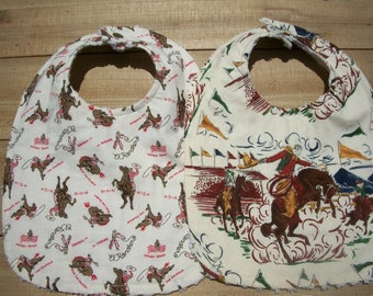 Cowboy Western Baby Toddler Bibs Set Of Two Ready To Ship