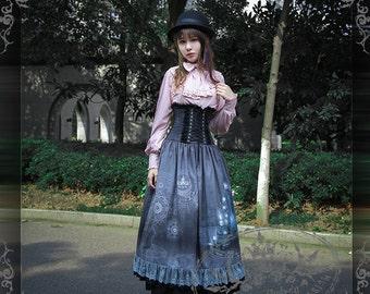 Elegant Gothic Preppy Academic Scholastic Corset Long Skirt