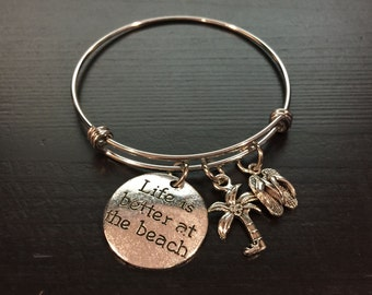 Life is Better at the Beach Palm Tree, Flip Flop Nautical Adjustable Bangle Style Bracelet