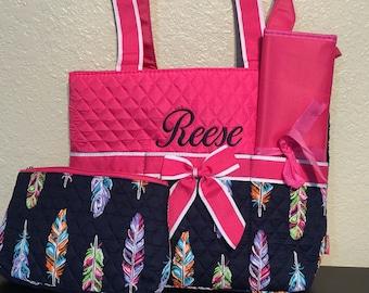 Feather Print Monogrammed Diaper Bag Hot Pink Trim
