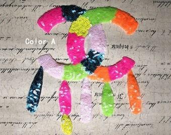 Two letter C Sequins Applique Patch, Colorful Sequined Letters Sew on Patches Supplies for T-Shirt/Coat/Bag DIY Clothing Decor Patch   #134