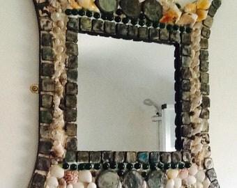 Shell and mosaic decorative mirror