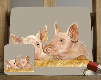 Piglets Farmyard Scene Pig Placemat By Artist Grace Scott