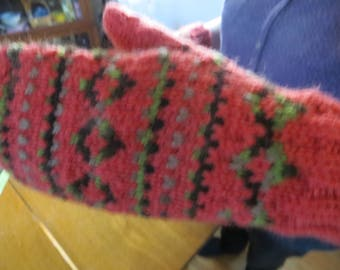 Hand Knit Mittens - Red and Multicolored