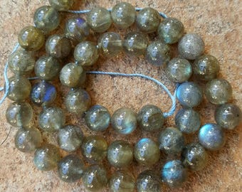 "Grade AA Labradorite Natural Gemstone 8mm Round Beads - 15"" Strand"