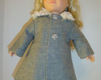blue herringbone coat