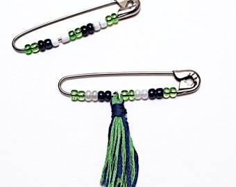 Large Safety Pin, Searrle Solidarity Safety Pin, United Safety Pin, Seattle Seahawks Sounders tassel Safety Pin, unity support