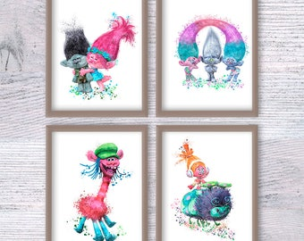 Trolls Watercolor Poster Set Of 4 Trolls Art Print Kids Room Wall Art  Trolls Wall Decor
