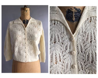 1950's Lace Knit Cardigan Sweater
