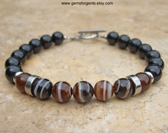 Brown Banded Agate, Coffee Brown Agate and Black Onyx, Mens Beaded Bracelet, Mens Jewelry – B41
