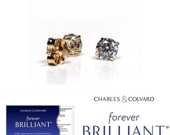 0.25 Carat Moissanite Forever Brilliant Stud Earrings in 14K Gold (with Charles & Colvard warranty)