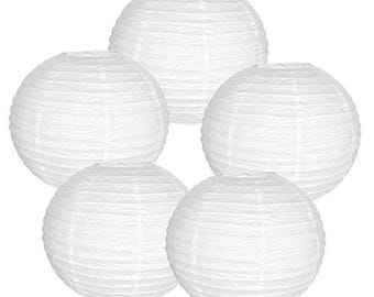 """Just Artifacts 6"""" White Paper Lanterns (Set of 5, White, 6inch) - Decorative Chinese Paper Lanterns for Weddings & Parties RPL060034-Set5"""