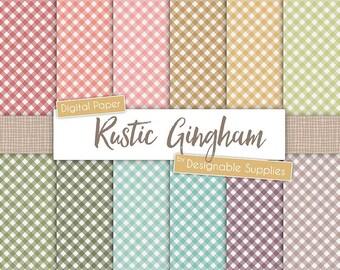 Gingham Background Digital Paper - Gingham Digital Paper Pack, Diagonal Gingham Digital Paper, Rustic Gingham Paper, Rainbow Gingham