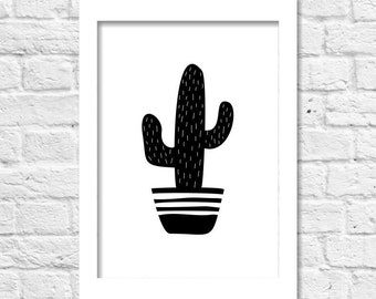 Black and White Cactus Poster, Monochrome Hand Drawing Cacti Print A3 8x10 Printable Wall Art Home Dorm Office Decor Nursery Kids Room Gift