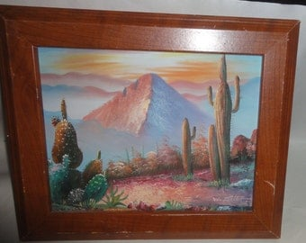 Vintage Desert Oil on Canvas/ Mountains/ Cacutus/ Sunset Sky/Signed W. Zeller