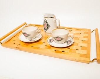 Vintage Wooden wicker Tray, Dailrade Latvia (CI043)