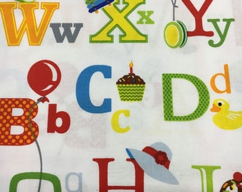 Fun With ABC's Alphabet Fabric Studio E Designed by Sarah Frederking 3568 1  Half Yard Cut and Yardage Available