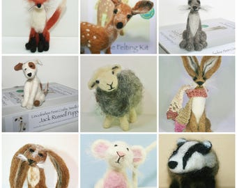 2 Felting kits for beginners - animal needle felting kit - Choose from: hare, rabbit, fox, badger, sheep, bird, deer, mouse, dog, cat, horse
