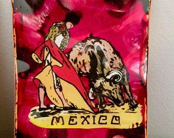 Mexican Folk Art Painting Matador Painting Bullfighting Folk Art Mexico Decor Vintage Mid Century Pink Green Primitive Art