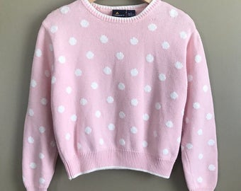 Vintage 90s LizSport by Liz Claiborne Baby Pink with White Polka Dots Pullovee Sweater