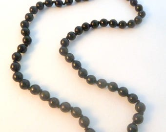 Vintage Black Necklace, Hand Knotted,  Black Glass Bead Necklace.