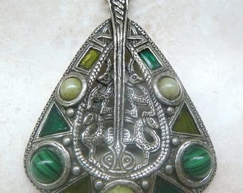 RESERVED For Teekee Vintage Celtic Zoomorphic Style Large Pendant And Necklace By Miracle.