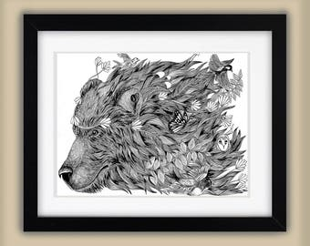 Spirit Bear - Original Illustration Forest Nature Ink Animals A3 Artists Children's Art Print