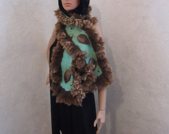 SALE-Felted wool scarf-Nuno felted scarf-Real fur scarf-brown-green-Ready to ship